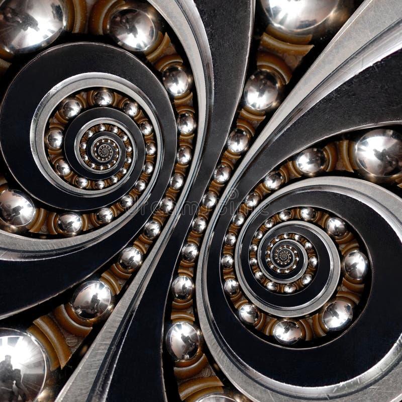 工业滚珠轴承 双重螺旋作用摘要backgroun 免版税图库摄影