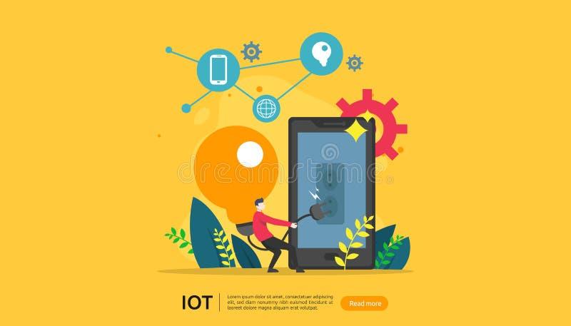 工业4的IOT聪明的房子监视概念 在智能手机事互联网屏幕应用程序的电灯泡光遥远的技术  向量例证