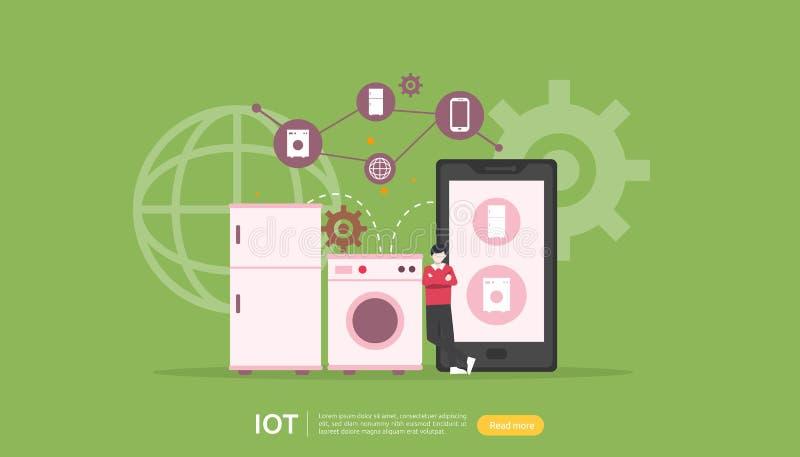 工业4的IOT聪明的房子监视概念 在智能手机事互联网屏幕应用程序的遥远的装置技术  库存照片