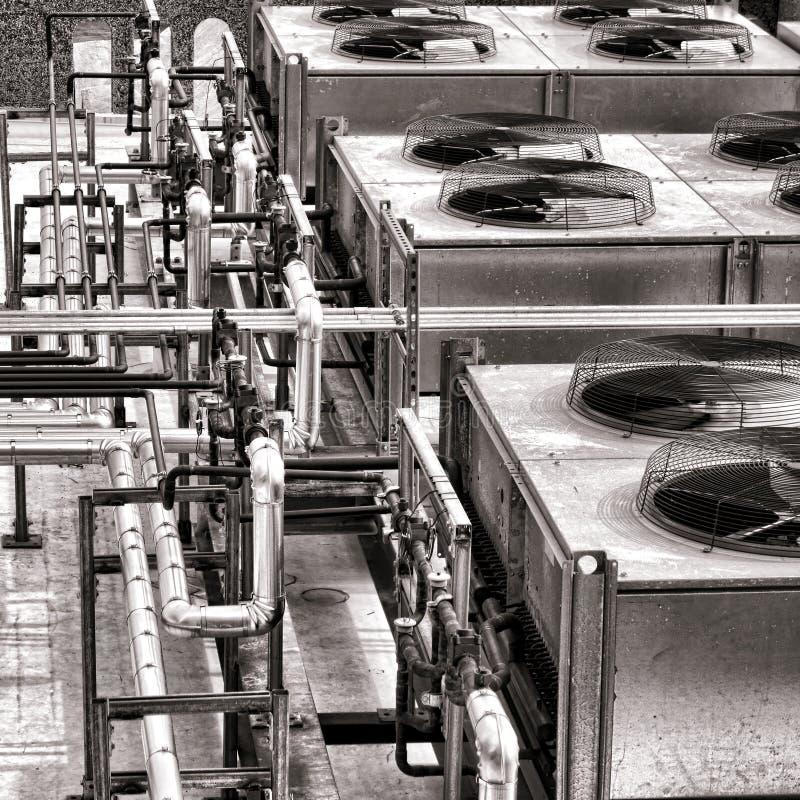 工业HVAC空调器压缩机爱好者 图库摄影