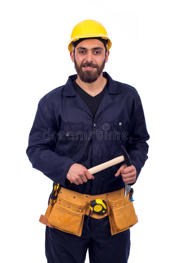 年轻工人微笑 库存图片