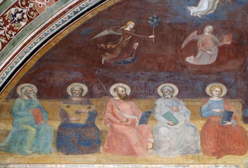 工作、大卫、圣保罗、圣马克和圣约翰福音传教士,圣玛丽亚中篇小说教会在佛罗伦萨 库存图片
