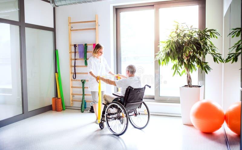 工作与轮椅的一名老人的少妇生理治疗师 免版税图库摄影