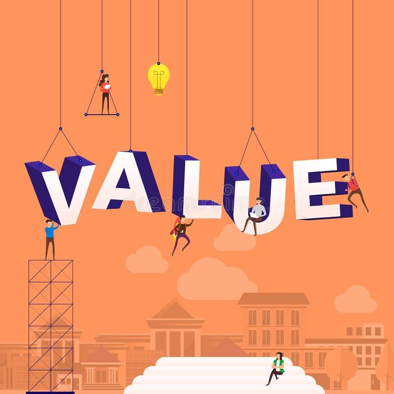 工作为修造的文本价值的平的设计观念人民 Vect 库存例证