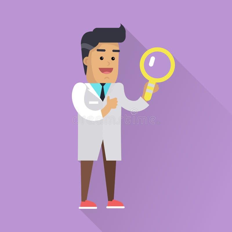 工作传染媒介平的样式例证的科学家 库存例证