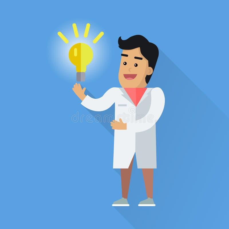 工作传染媒介平的样式例证的科学家 向量例证