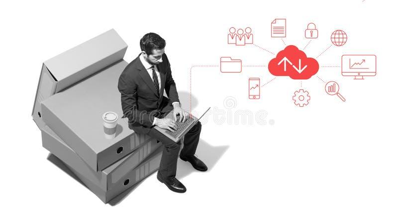 工作公司的商人在网上连接和 免版税库存图片
