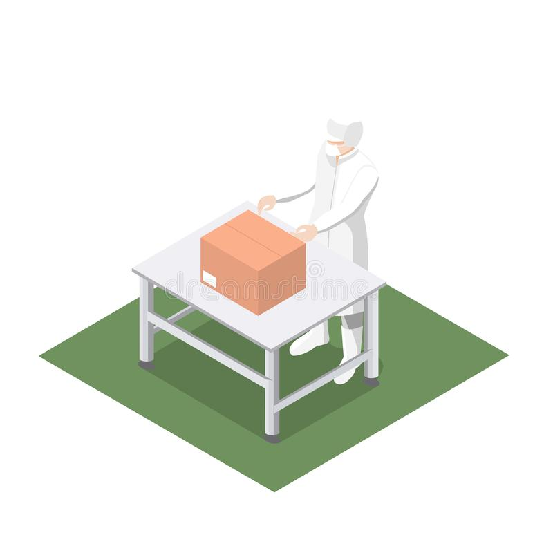 工作包装的产品到生产线里 库存例证