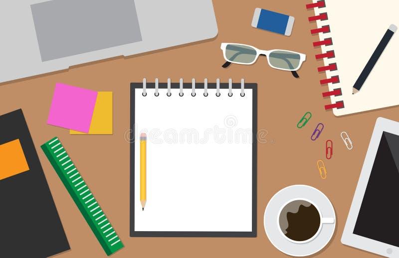 工作区与文具办公室的传染媒介集合顶视图书桌背景的 库存例证