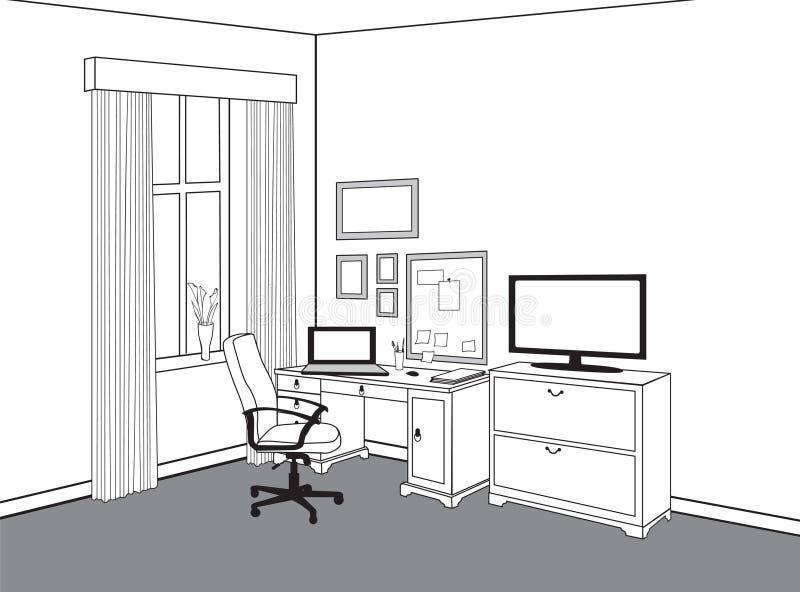 工作区视图在家办公室 有计算机的工作场所 机柜 库存例证