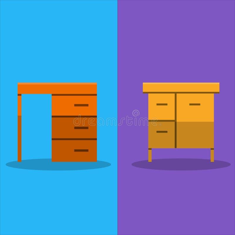 工作和研究书桌的家 向量例证