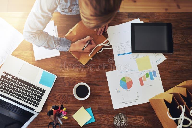 工作在一个家庭办公室的年轻女性企业家 免版税库存照片