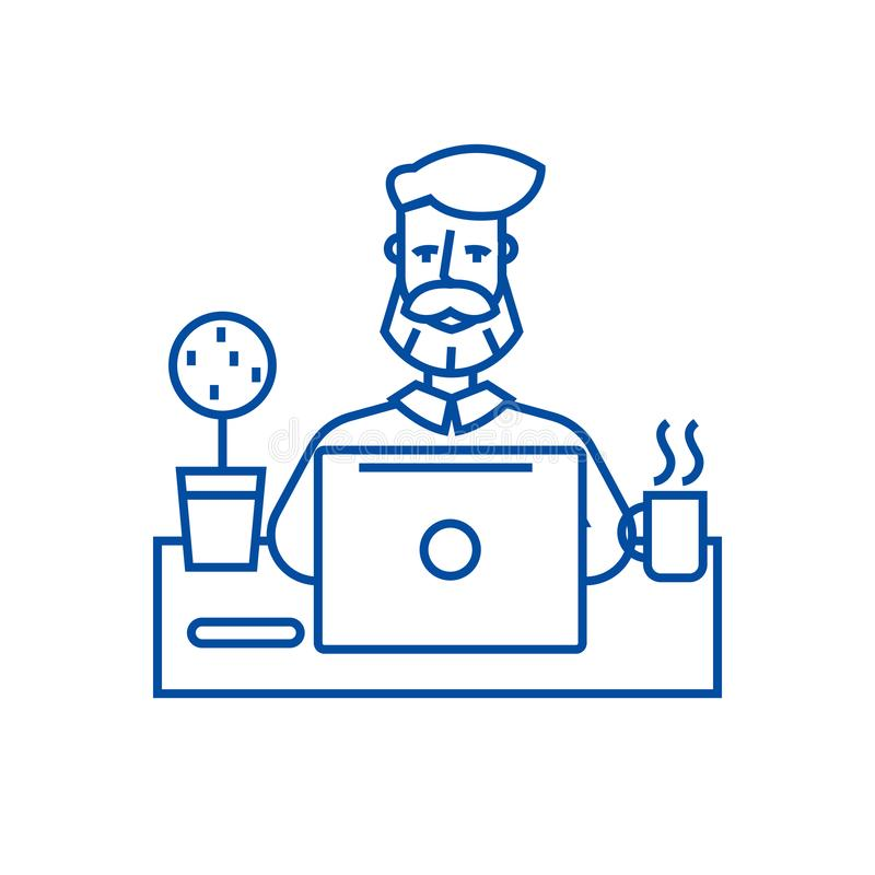 工作在与笔记本线象概念的桌上的胡子人 工作在与笔记本平的传染媒介标志的桌上的胡子人 向量例证