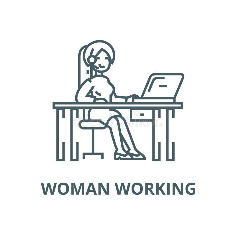 工作在与膝上型计算机传染媒介线象,线性概念,概述标志,标志的桌上的妇女 皇族释放例证