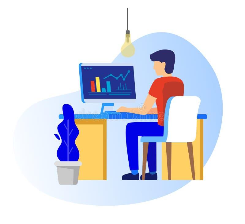 工作在个人计算机的人 向量例证