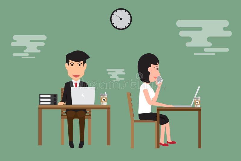 工作在书桌上的商人和妇女在办公室 向量例证