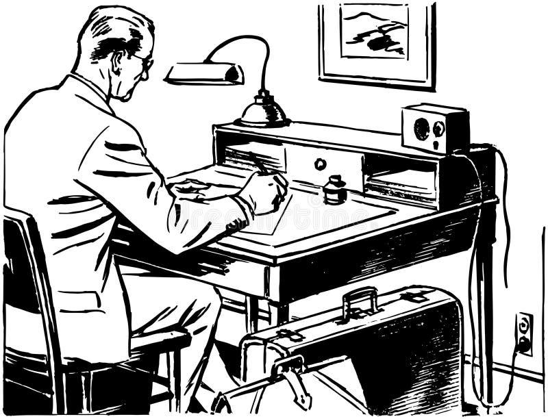 工作在书桌的人 皇族释放例证