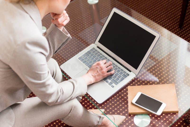 工作在互联网上的女实业家 免版税库存图片