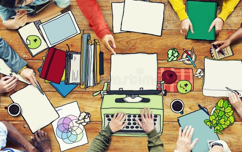 工作在会议照片例证的人们 库存例证