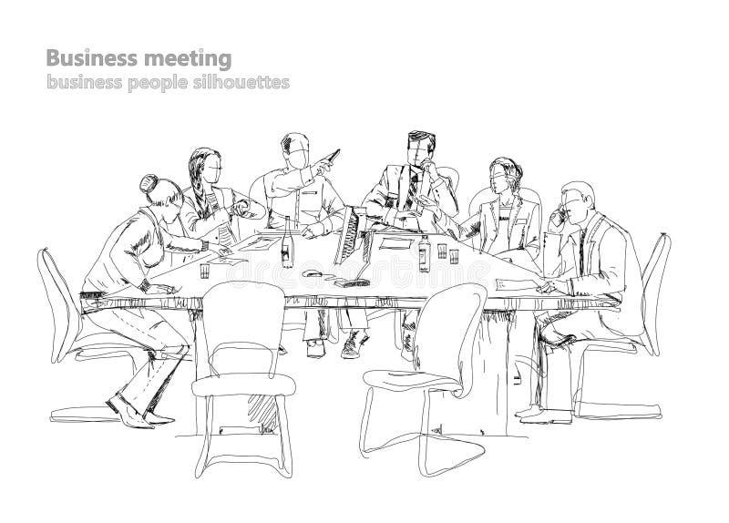 工作在会议的成功的商人剪影 与五颜六色的水彩的剪影