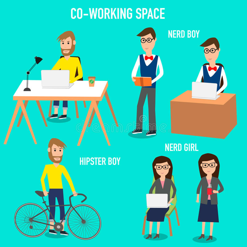 工作在共同工作的空间infographics元素的人们 向量例证