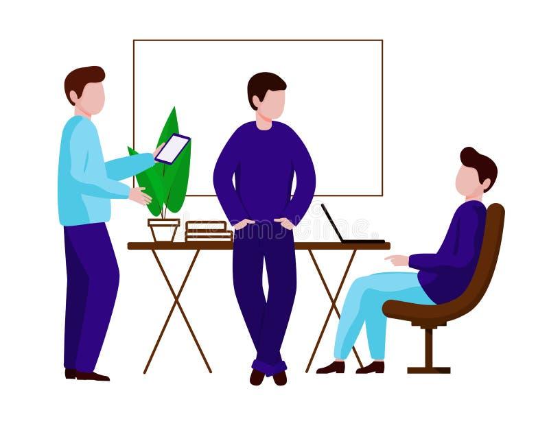 工作在办公室的一个小组人 队谈论工作草案 库存例证