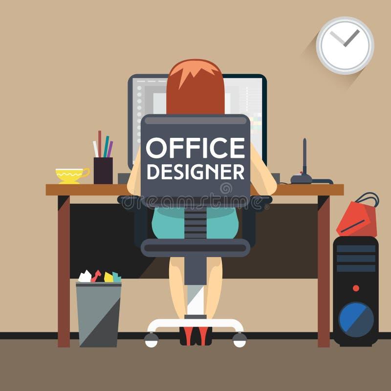 工作在办公室的妇女设计师 库存例证