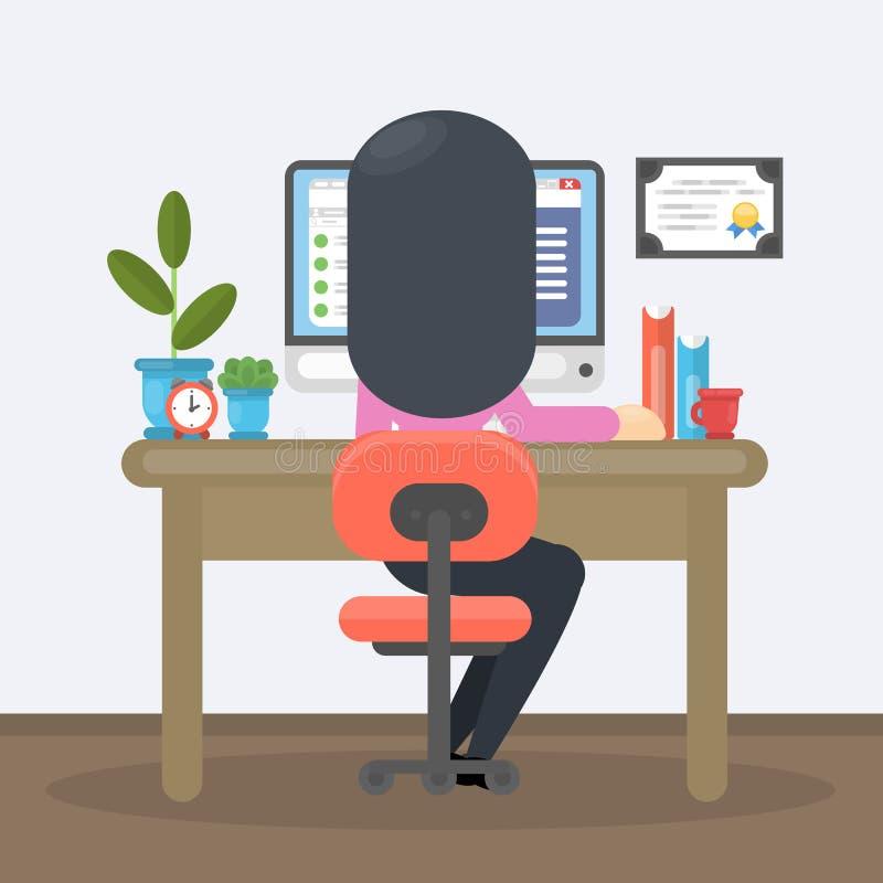 工作在办公室的妇女 向量例证