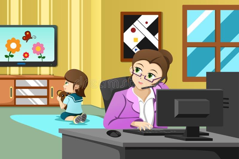 工作在办公室的母亲 库存例证
