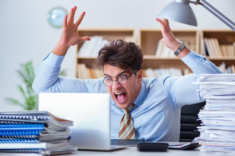 工作在办公室的滑稽的会计簿记员 免版税图库摄影