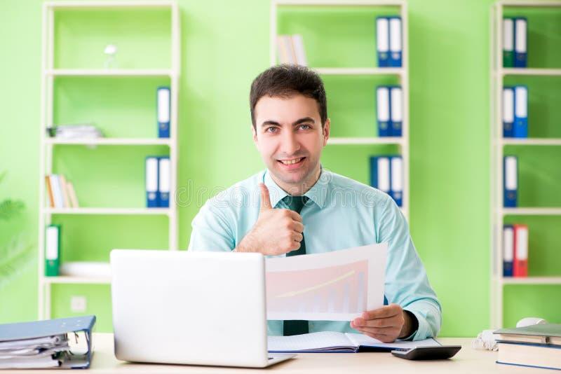 工作在办公室的男性财政经理 免版税库存照片