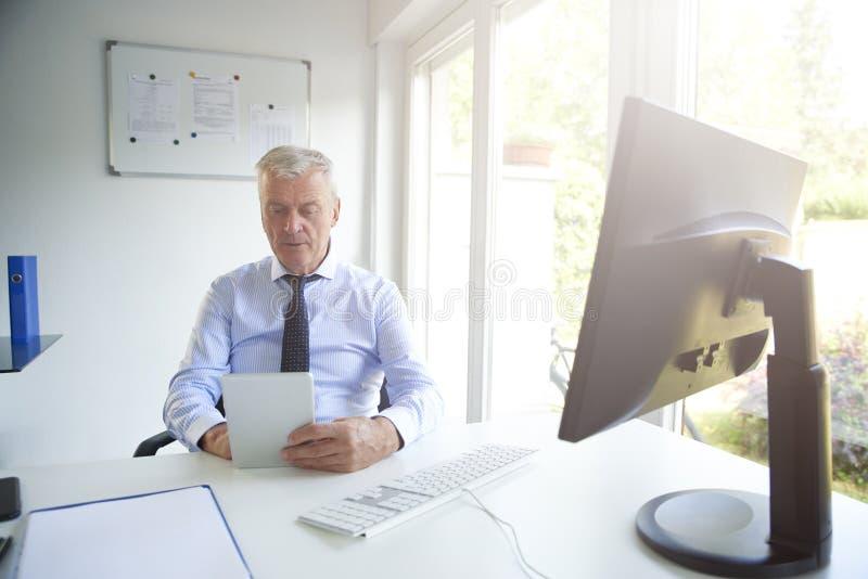 工作在办公室的资深投资顾问 免版税库存照片