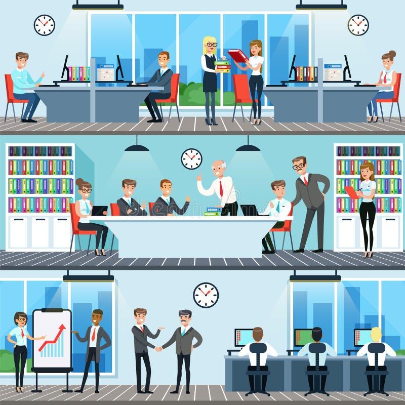 工作在办公室集合、男人和妇女的商人 向量例证