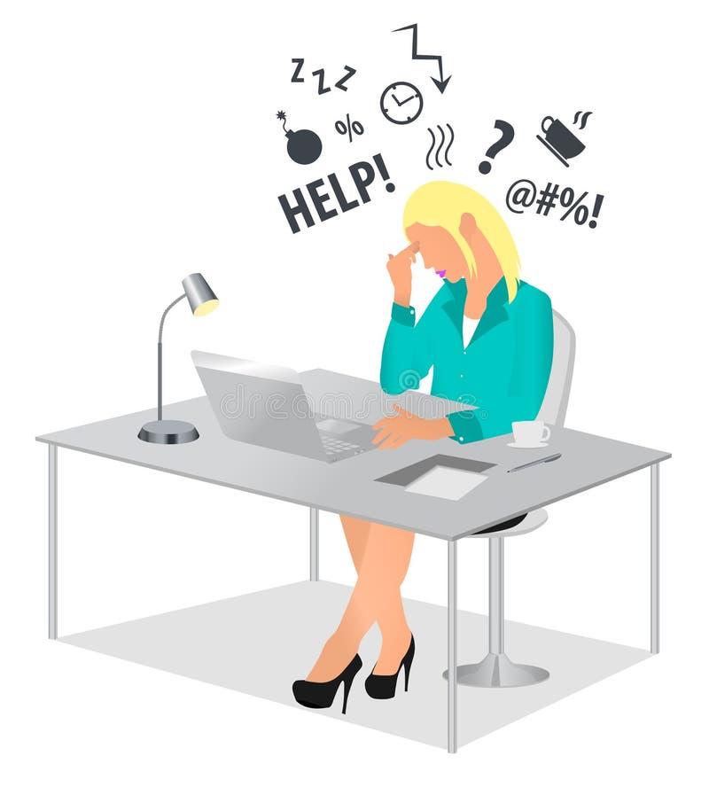 工作在办公桌和接触她的头的被用尽的妇女 坐在d的劳累过度和疲乏的女实业家或办公室工作者 库存例证