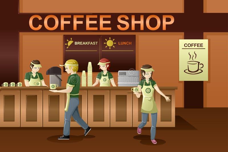 工作在咖啡店的人们 向量例证