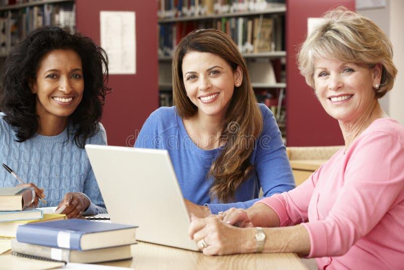 工作在图书馆里的成熟学生 免版税图库摄影