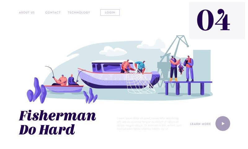 工作在大小船船捉住的鱼的渔夫,拉扯从海的鱼网,给抓住顾客,捕鱼业 皇族释放例证