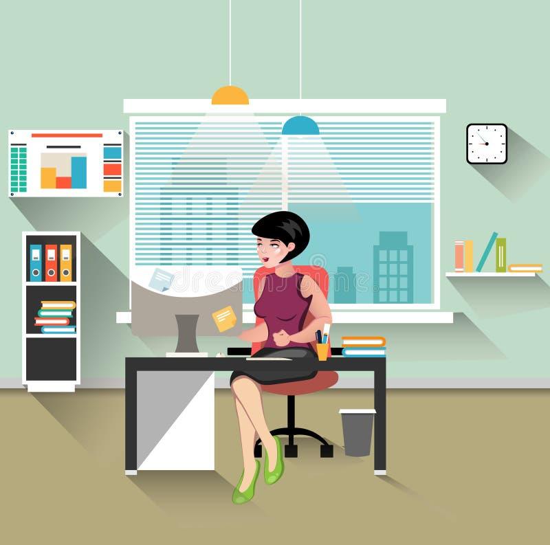 工作在她的办公桌的女商人 向量例证