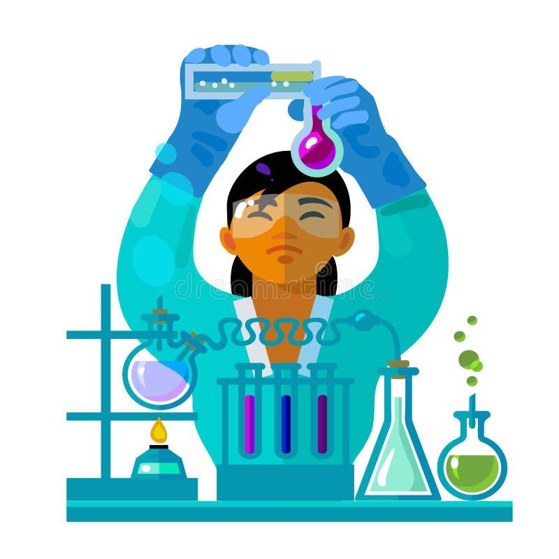 工作在实验室里的妇女科学家 向量 库存例证