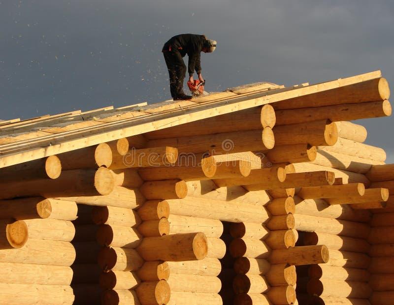 工作在客舱的木匠 库存图片