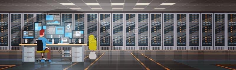 工作在数据中心室主服务器计算机监视信息数据库中的人们 向量例证