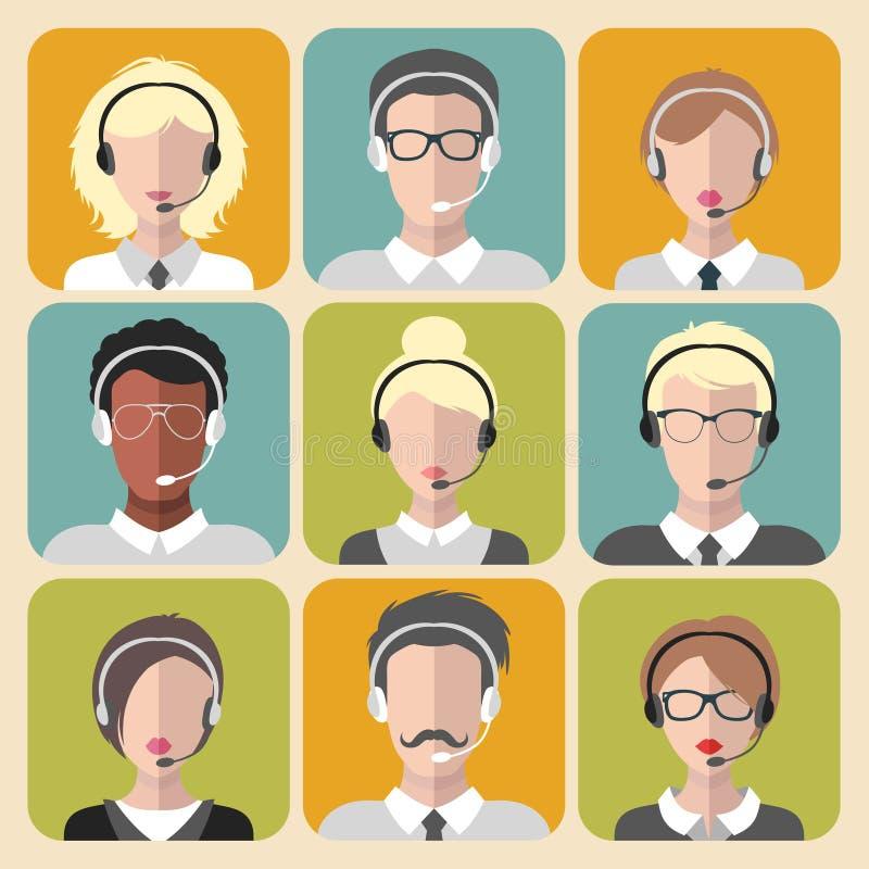 工作在时髦平的样式的电话中心app象的传染媒介套另外男人和妇女 皇族释放例证