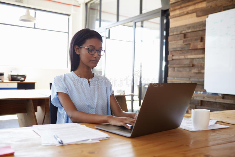 工作在有便携式计算机的办公室的年轻黑人妇女 库存图片