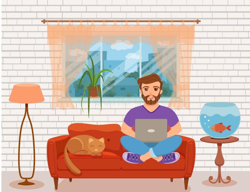 工作在沙发的自由职业者愉快的年轻人在家庭客厅 库存例证