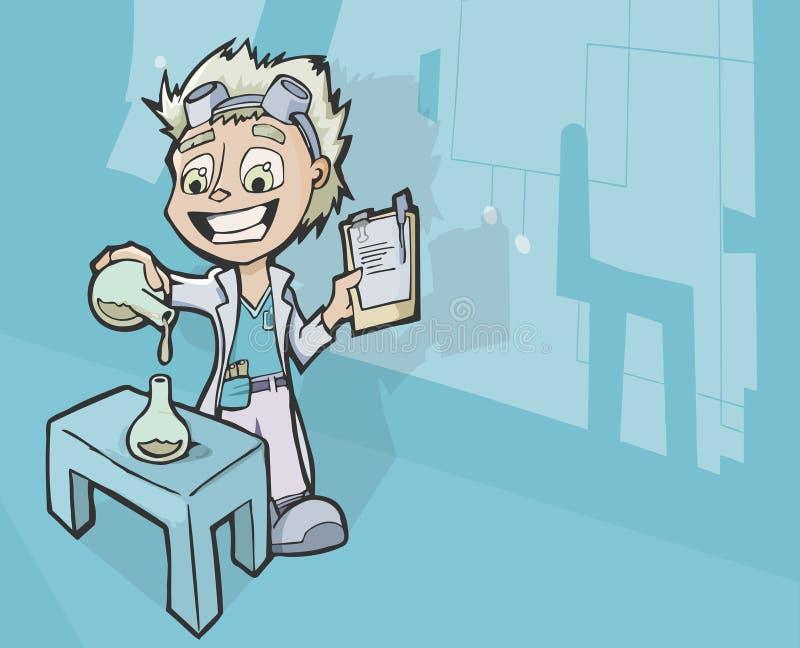 工作在混合的化学制品的疯狂的科学家 皇族释放例证