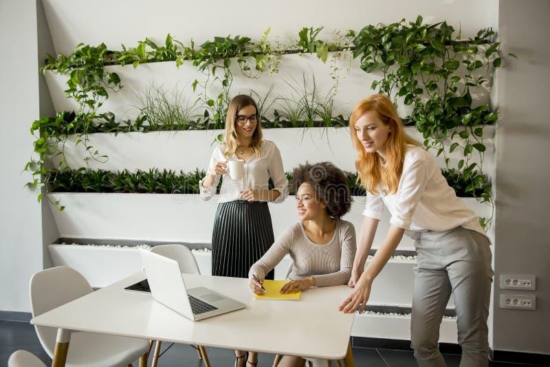 工作在现代办公室的快乐的专业多种族妇女 库存图片