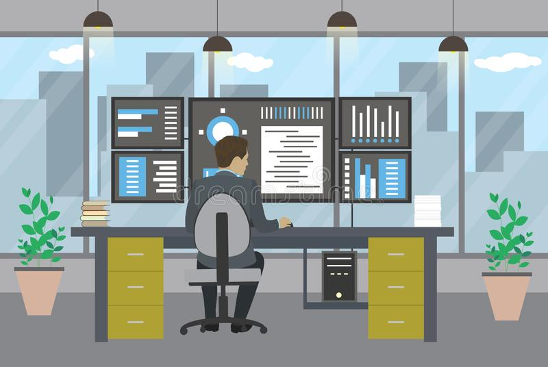 工作在现代办公室的系统管理员 向量例证