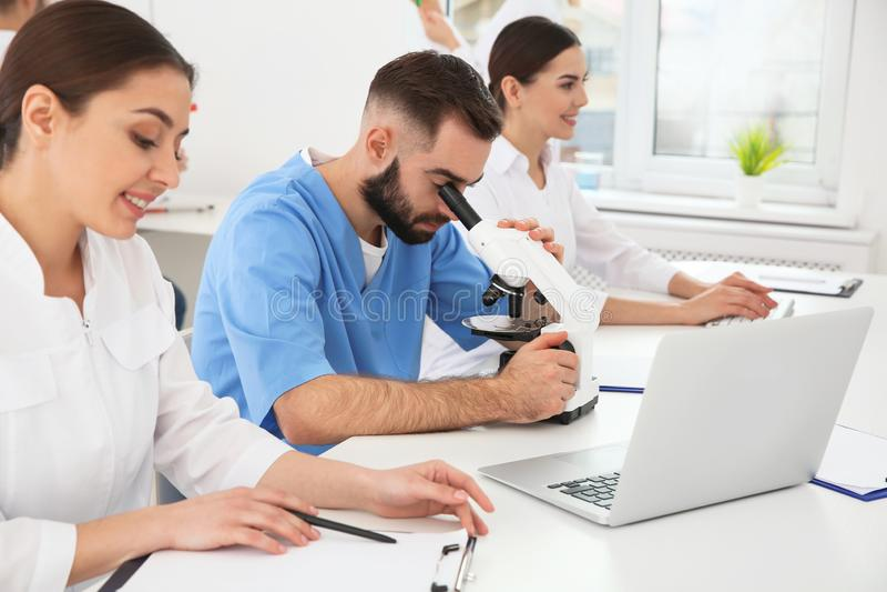 工作在现代科学的医科学生 库存照片