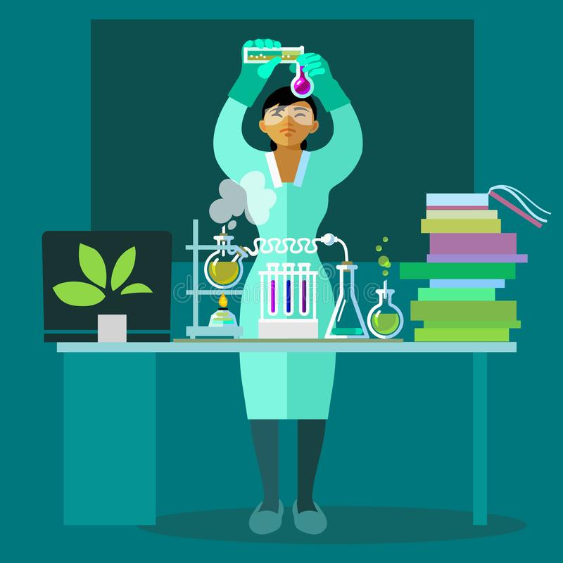 工作在生物实验室的妇女科学家 平的传染媒介 库存例证