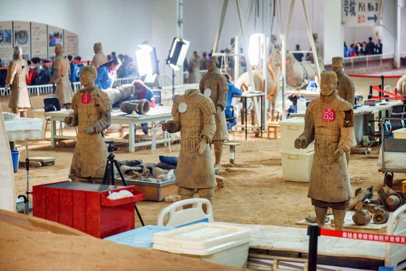 工作在秦始皇兵马俑的挖掘站点的考古学家 库存照片